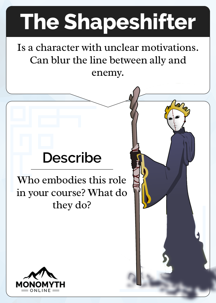 The Shapeshifter Card. Description: Is a character with unclear motivations. Can blur the line between ally and enemy. Prompt: Who embodies this role in your course? What do they do?